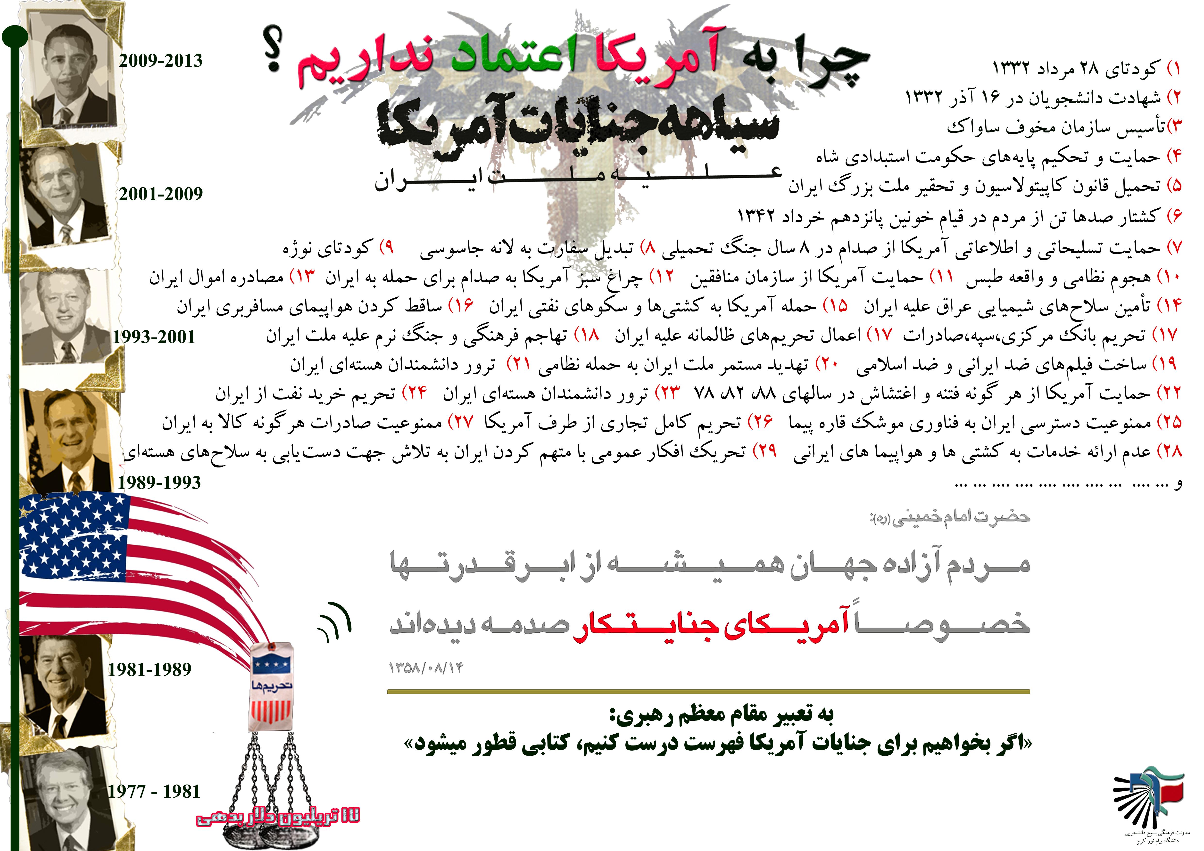 لیست جنایات ۶۰ ساله آمریکا علیه ملت ایران
